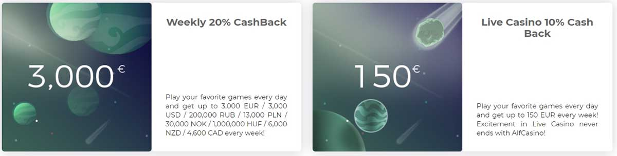 Cashback bonuses at Alf Casino